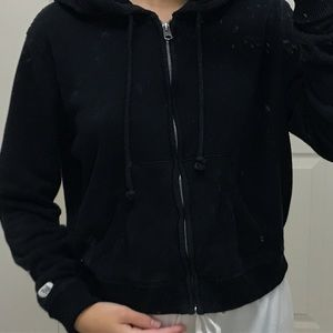 cropped black zip up from abercrombie and fitch